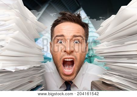 Heap business man papers he color background
