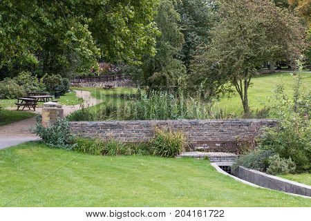 Swadlincote Park Derbyshire water and stone feature.