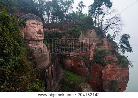 The world's largest Buddha statue. View of the Buddha statue in Leshan, China.