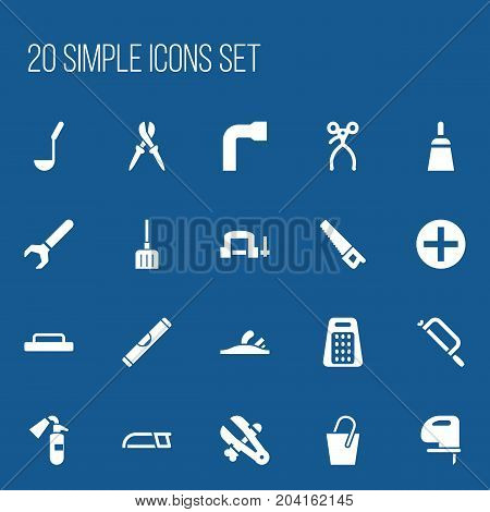 Set Of 20 Editable Apparatus Icons. Includes Symbols Such As Screw Wrench, Clamp, Saw And More