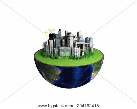 Urbanization Concept With Globe And City On Abstract White Background 3D Rendering