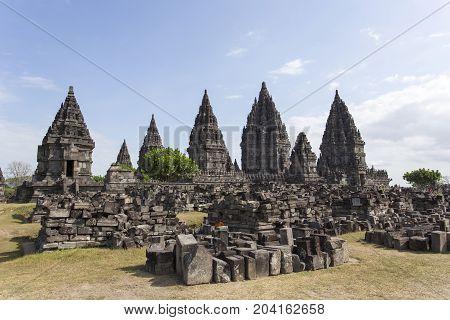 View Of Prambanan Temple In Java