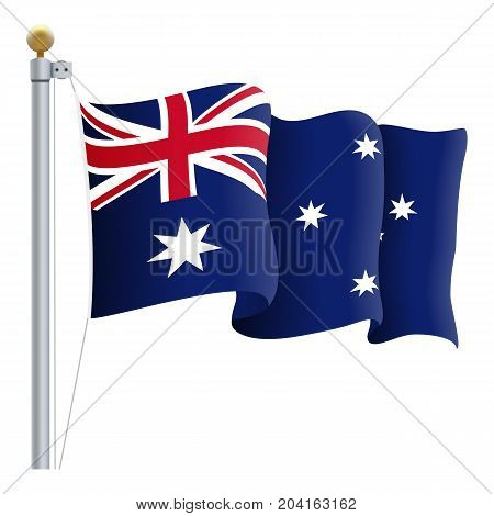 Waving Australia Flag Isolated On A White Background. Vector Illustration. Official Colors And Proportion. Independence Day