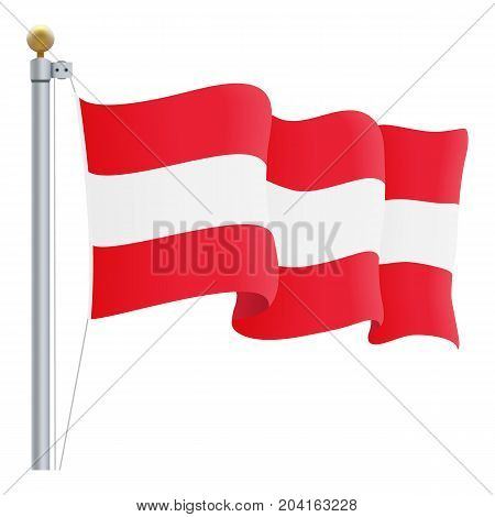 Waving Austria Flag Isolated On A White Background. Vector Illustration. Official Colors And Proportion. Independence Day