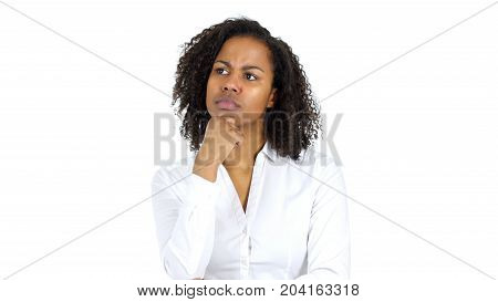 Thinking Pensive Black Woman Isolated On White Background