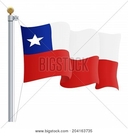 Waving Chile Flag Isolated On A White Background. Vector Illustration. Official Colors And Proportion. Independence Day