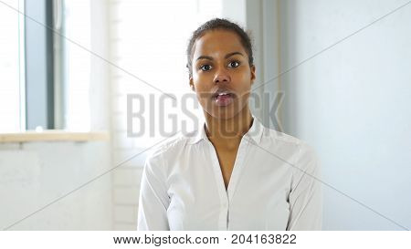 Shock, Wondering Afro-american Woman In Office At Work
