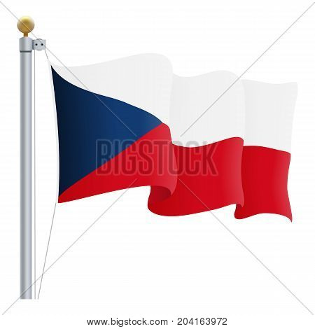 Waving Czech Republic Flag Isolated On A White Background. Vector Illustration. Official Colors And Proportion. Independence Day