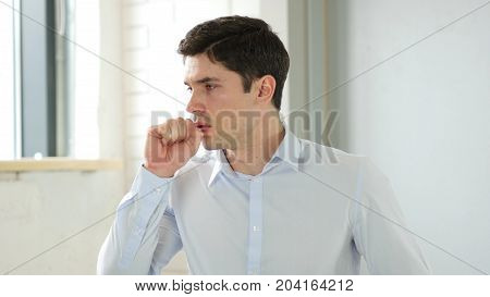 Cough, Man Coughing In Office, Indoor At Work