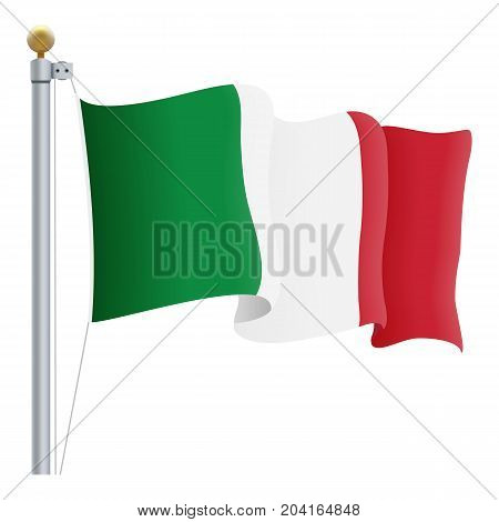 Waving Italy Flag Isolated On A White Background. Vector Illustration. Official Colors And Proportion. Independence Day