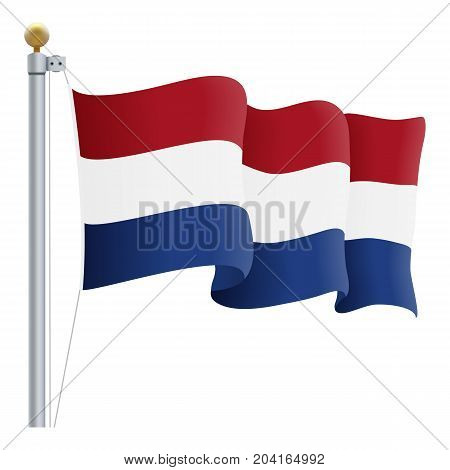 Waving Netherlands Flag Isolated On A White Background. Vector Illustration. Official Colors And Proportion. Independence Day