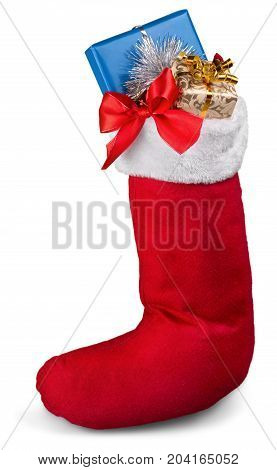Red santa stocking stock color white background