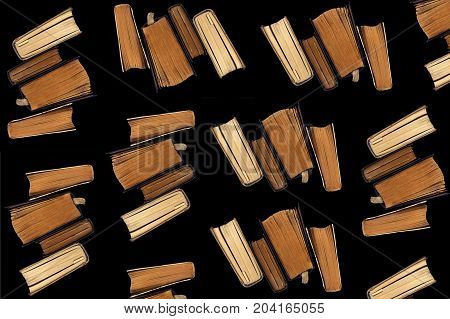 Collage of old books on a black background.
