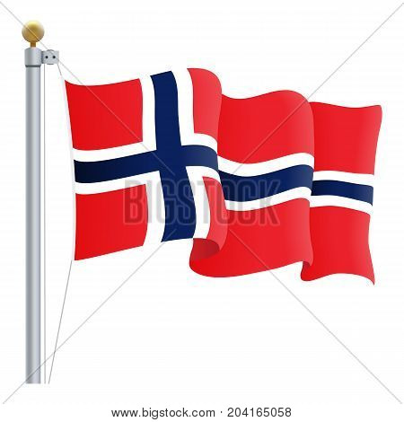 Waving Norway Flag Isolated On A White Background. Vector Illustration. Official Colors And Proportion. Independence Day