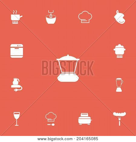 Set Of 13 Editable Cooking Icons. Includes Symbols Such As Stir, Goblet, Cooking Cap And More