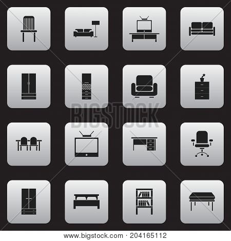Set Of 16 Editable Furnishings Icons. Includes Symbols Such As Stillage, Seat, Television And More