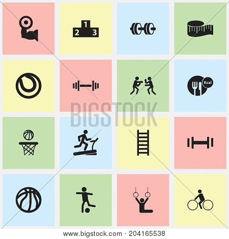 Set Of 16 Editable Fitness Icons. Includes Symbols Such As Stairway, Racetrack Training, Football And More