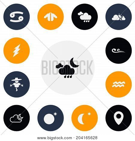 Set Of 13 Editable Air Icons. Includes Symbols Such As Lightning, Bugbear, Climate And More