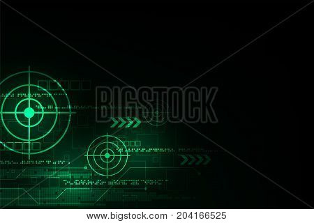 Vector background technology that leads to a goal in the digital world.