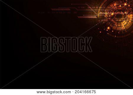 Vector technology concept on a dark orange background.