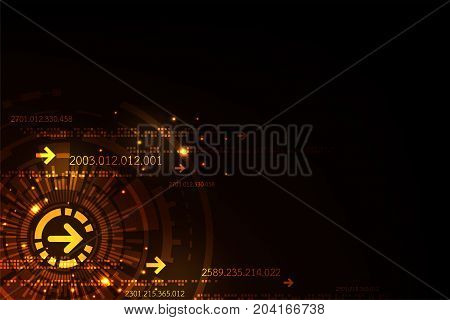 Technology in the digital concept on a dark orange background.