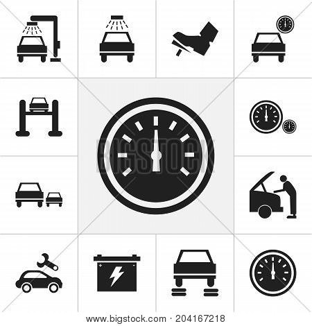 Set Of 12 Editable Car Icons. Includes Symbols Such As Vehicle Wash, Battery, Race And More