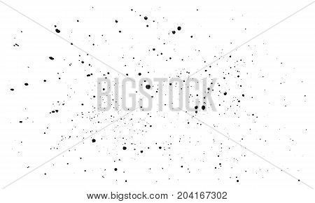 Vector splashes of black ink on a white background. Elements for design. Abstraction. Beautiful art.