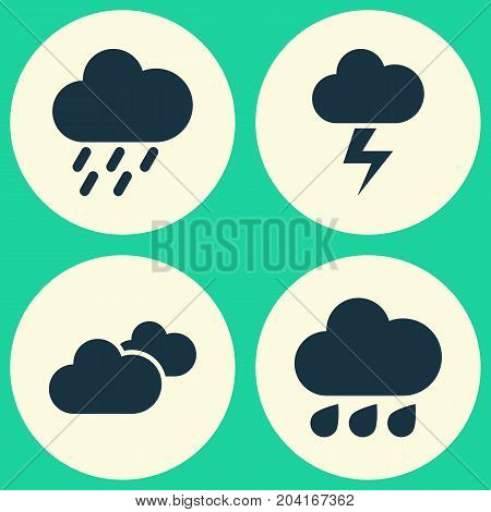 Air Icons Set. Collection Of Lightning, Weather, Douche And Other Elements