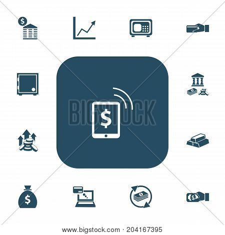 Set Of 13 Editable Banking Icons. Includes Symbols Such As Savings, Increase, Remuneration And More