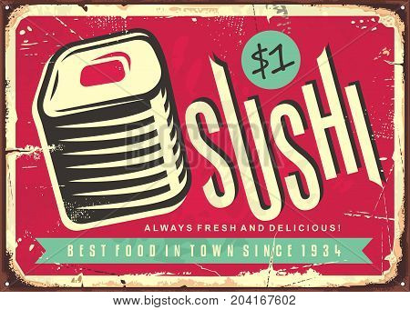 Food sign with fresh and delicious sushi. Japanese restaurant retro sign design. Vector illustration.