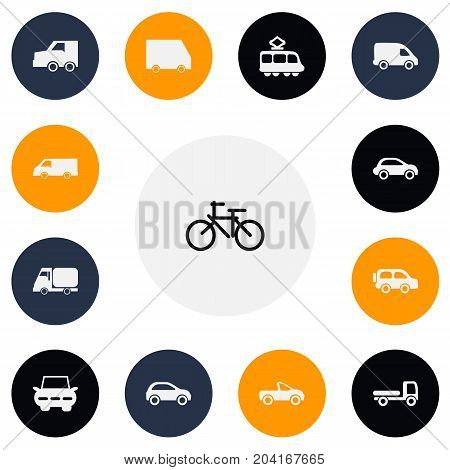 Set Of 13 Editable Transport Icons. Includes Symbols Such As Drophead Coupe, Van, Suv And More