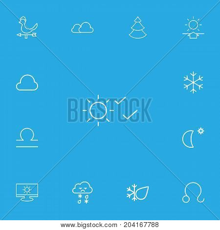 Set Of 13 Editable Weather Outline Icons. Includes Symbols Such As Moon With Star, Overcast, Rain And More