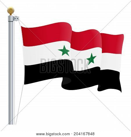 Waving Syria Flag Isolated On A White Background. Vector Illustration. Official Colors And Proportion. Independence Day