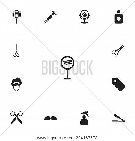 Set Of 13 Editable Hairdresser Icons. Includes Symbols Such As Spreader, Cutting Tool, Label And More