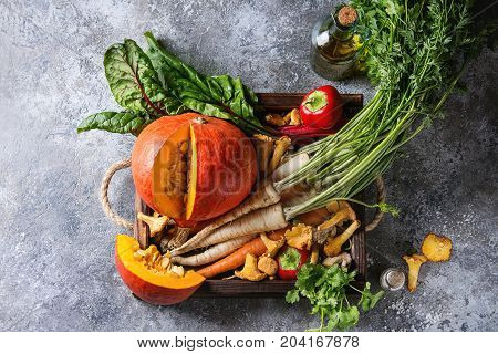 Variety of autumn harvest vegetables carrot, parsnip, chard, paprika, hokkaido pumpkin, porcini and chanterelles mushrooms in wooden tray over gray texture background. Top view with space