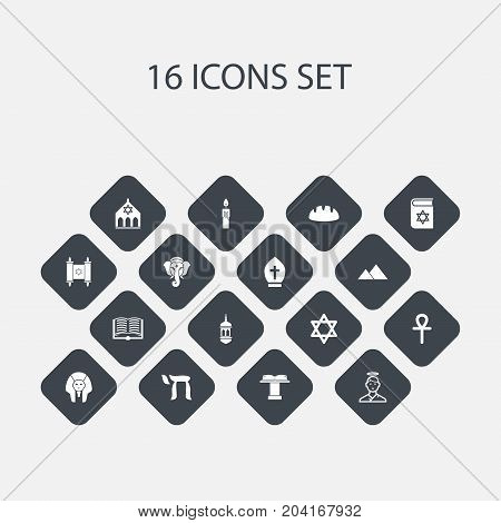 Set Of 16 Editable Religion Icons. Includes Symbols Such As Minaret, Pope Headwear, Orator Tribune And More