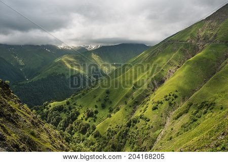 Mountain pass in Georgia in summer. Abano pass in the Caucasus mountains.Landscape of mountain hills.