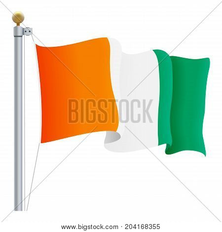 Waving Cote D Ivoire Flag Isolated On A White Background. Vector Illustration. Official Colors And Proportion. Independence Day