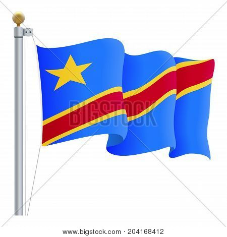 Waving Democratic Republic Of Congo Flag Isolated On A White Background. Vector Illustration. Official Colors And Proportion. Independence Day