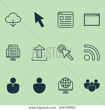 Connection Icons Set. Collection Of Mouse, Account, Website And Other Elements