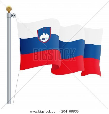 Waving Slovenia Flag Isolated On A White Background. Vector Illustration. Official Colors And Proportion. Independence Day