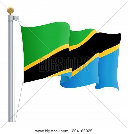 Waving Tanzania Flag Isolated On A White Background. Vector Illustration. Official Colors And Proportion. Independence Day