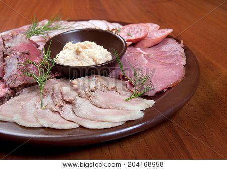 Beautiful sliced food arrangement.Studio  close up meal