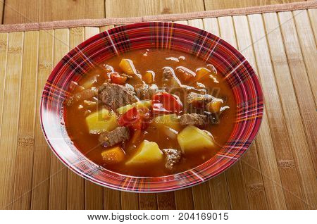 Traditional Bulgarian soup chorba.shurpa soup   close up traditional meal