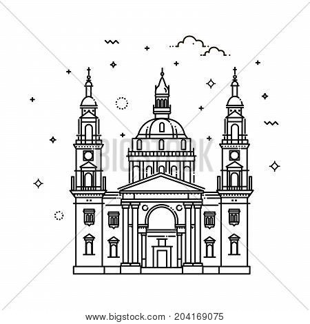 Hungarian travel landmark of historical buildings thin line icon