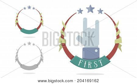 Template medal for first place. Achievement, victory concept. Trophy, winner award isolated on white background.