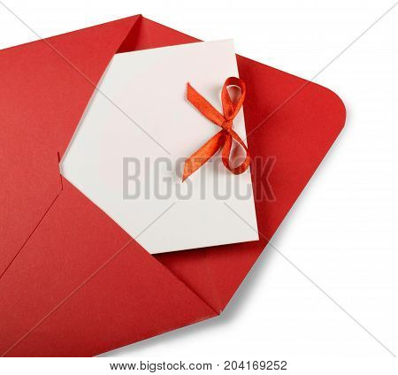 Red white paper blank envelope happy holidays design background