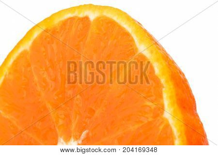 Half of fresh juicy orange fruit slice isolated on white background with copy space for text. Natural vitamin C antioxidant concept.