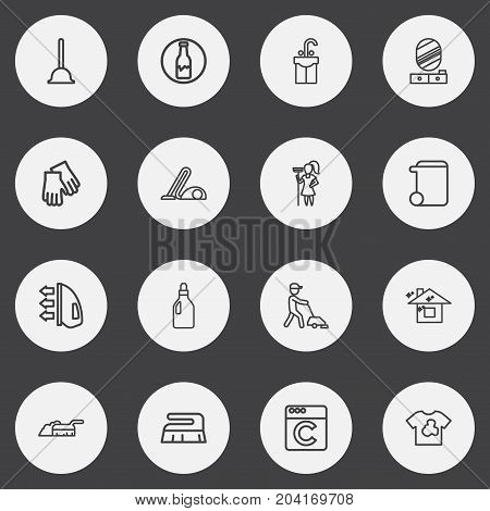Set Of 16 Editable Hygiene Outline Icons. Includes Symbols Such As Hoover, Pier Glass, Ironing And More