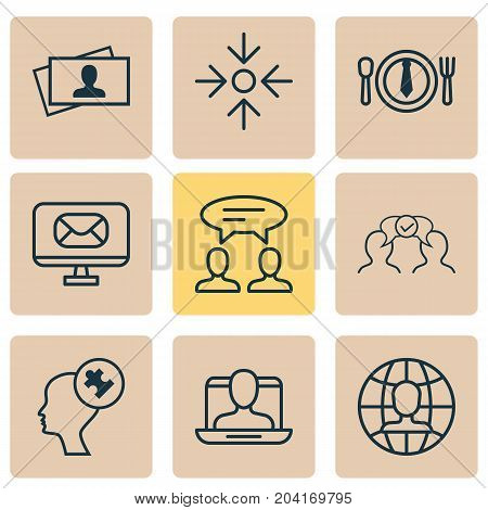 Business Icons Set. Collection Of Email, Social Profile, Cooperation And Other Elements